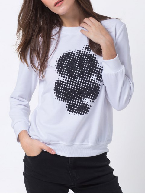 latest Polka Dot Sweatshirt - WHITE S Mobile