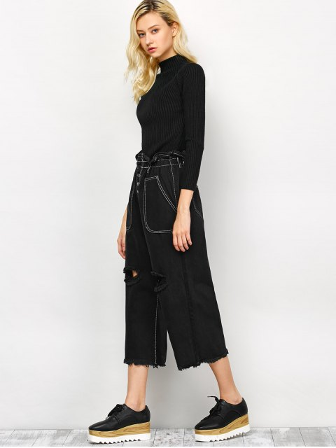 fancy Capri Ripped Wide Leg Pants - BLACK S Mobile