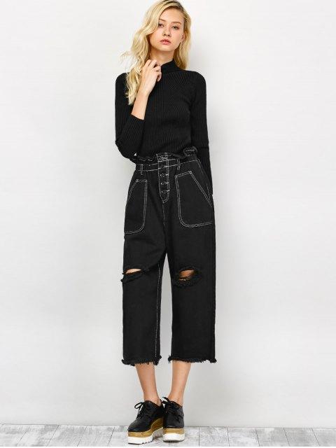 fashion Capri Ripped Wide Leg Pants - BLACK L Mobile