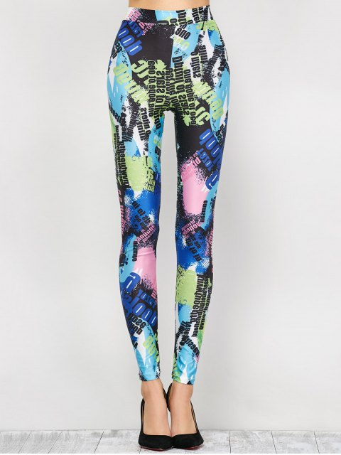 fashion High Waist Tie-Dyed Figure Leggings - BLUE XL Mobile