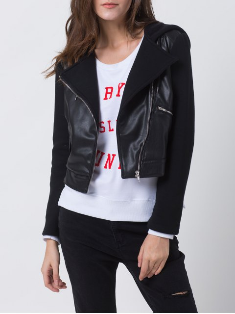unique PU Leather Panel Biker Jacket - BLACK M Mobile