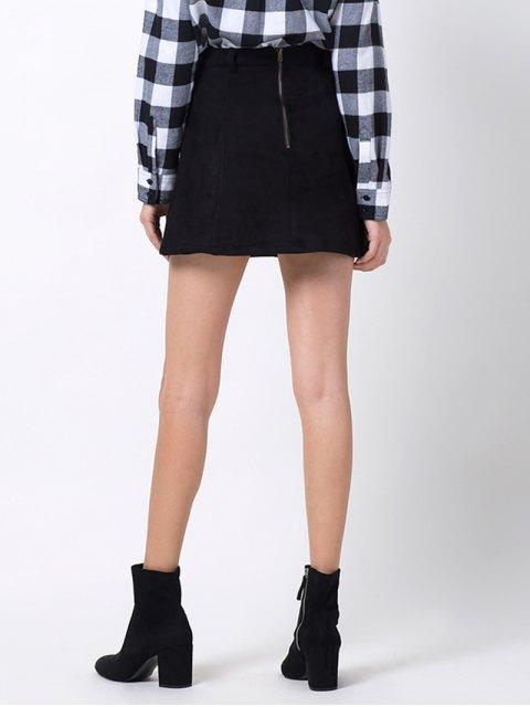 chic A Line Faux Suede Mini Skirt - BLACK 2XL Mobile