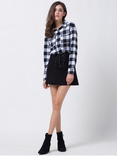 fancy A Line Faux Suede Mini Skirt - BLACK XL Mobile