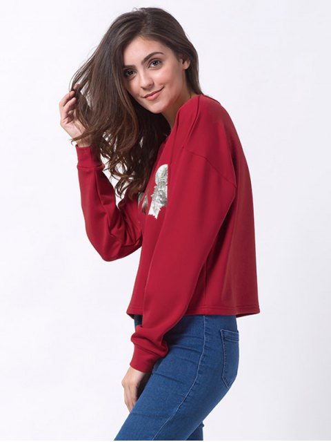 affordable Ginger Print Drop Shoulder Tee - RED M Mobile