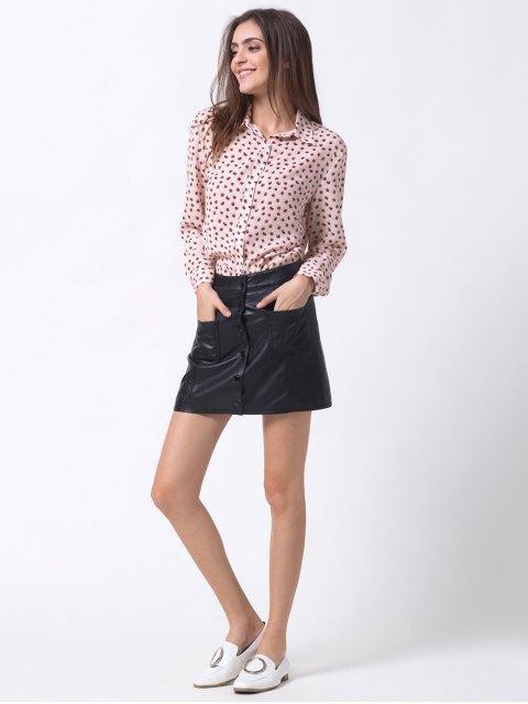 fashion Chiffon Printed Shirt - PINK XS Mobile