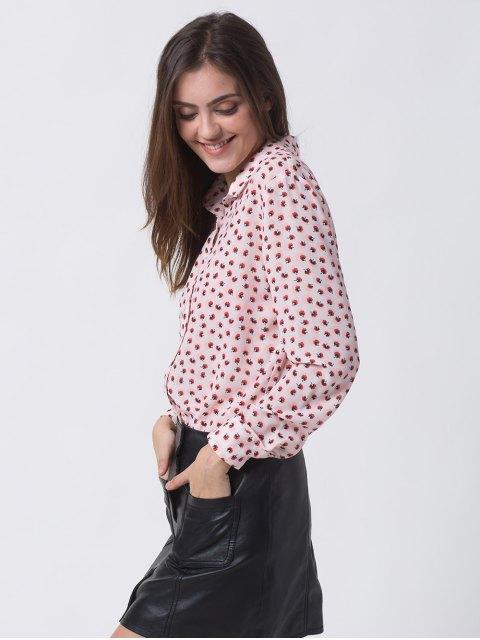 shop Chiffon Printed Shirt - PINK XL Mobile