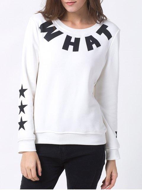 chic Letter Star Print Pullover Sweatshirt - WHITE XL Mobile