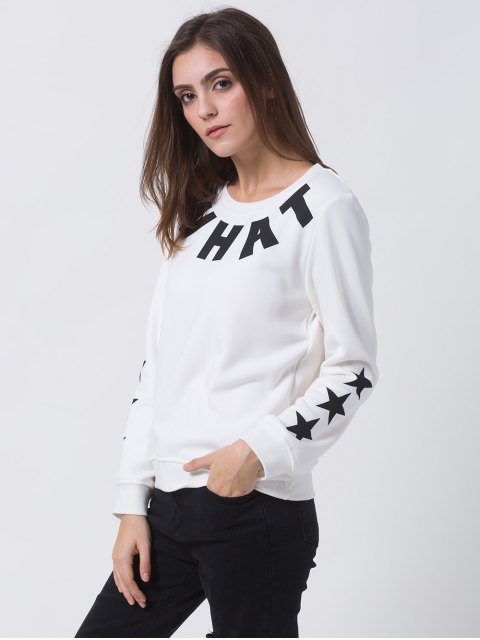 fashion Letter Star Print Pullover Sweatshirt - WHITE 2XL Mobile