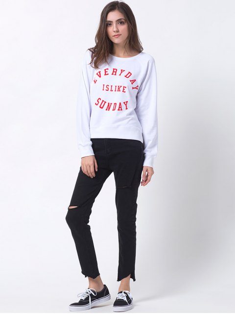 women Text Print Pullover Raglan Sweatshirt - WHITE L Mobile
