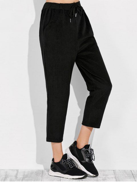 lady Pockets Drawstring Pants - BLACK M Mobile