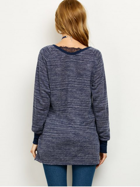 women Loose Lace Spliced Sweatshirt - BLUE XL Mobile