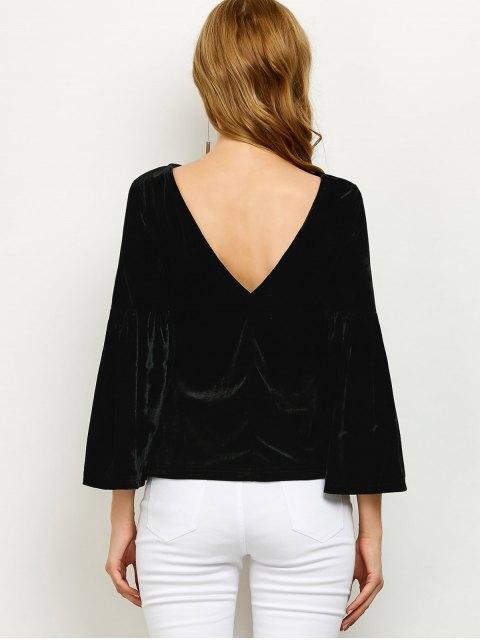 affordable V Back Flare Sleeve Velvet Tee - BLACK 2XL Mobile