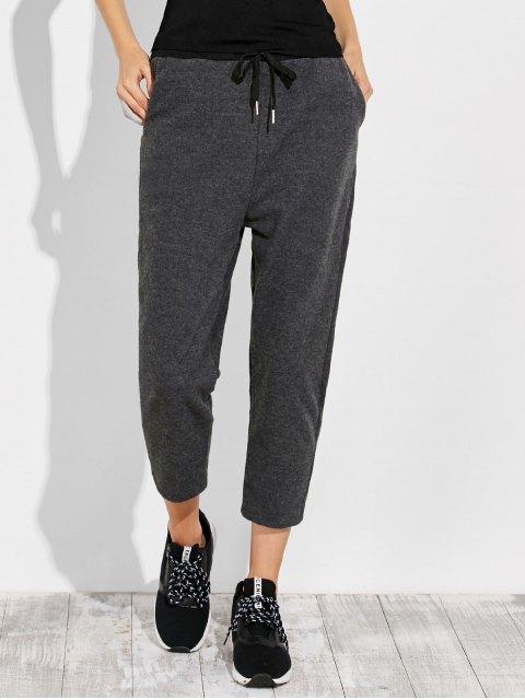 best Pockets Drawstring Pants - GRAY L Mobile