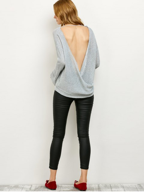 affordable Wrap Cut Out Knitwear - GRAY S Mobile