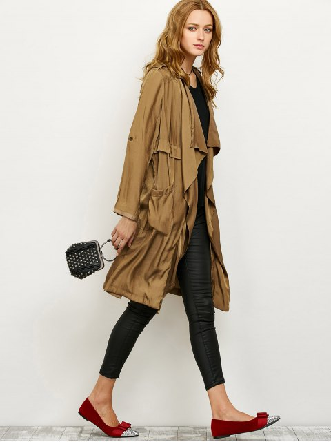 best Drape Front Long Duster Coat - DARK KHAKI XL Mobile