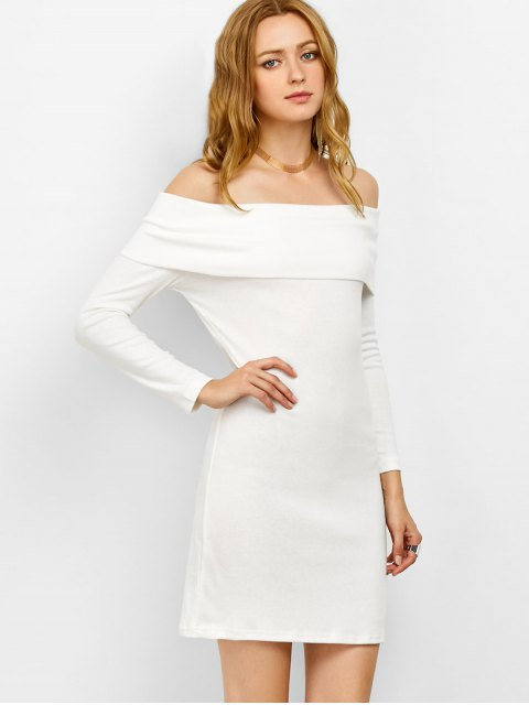women's Off the Shoulder Mini Bodycon Party Dress - WHITE S Mobile