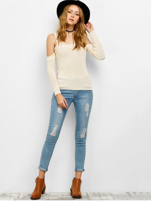 women's Cold Shoulder Loose Chunky Sweater - OFF-WHITE L Mobile