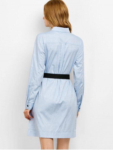 online Long Sleeve Belted Shirt Dress - BLUE S Mobile