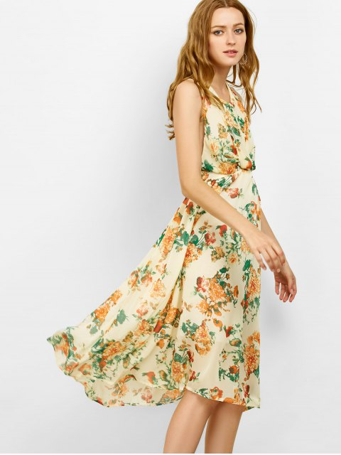 online Floral Cut Out Beach Dress - BEIGE S Mobile