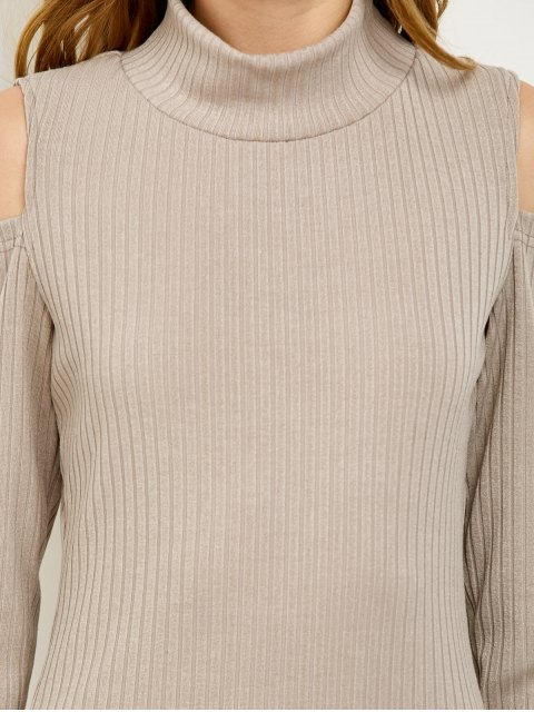 unique Cold Shoulder High Neck Ribbed Sweater Dress - GRAY S Mobile
