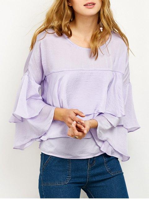 shops Jewel Neck Ruffles Layered Blouse - LIGHT PURPLE XL Mobile