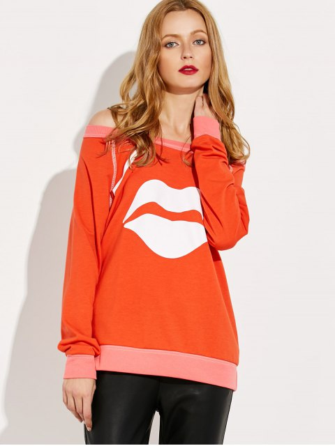 ladies Lips Print Off Shoulder Sweatshirt - JACINTH S Mobile