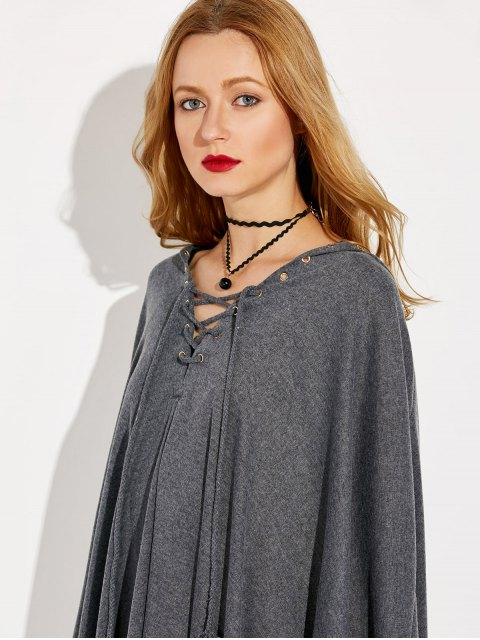 outfits Lace Up Hooded Cape - GRAY ONE SIZE Mobile