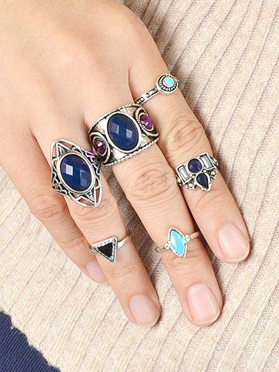 Faux Gem Rings Set - SILVER ONE-SIZE Mobile