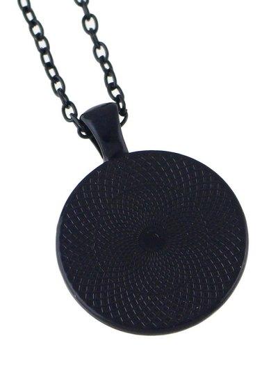 Mandala Round Necklace - BLUE  Mobile