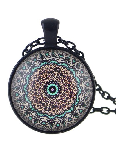 Mandala Round Necklace - COFFEE  Mobile