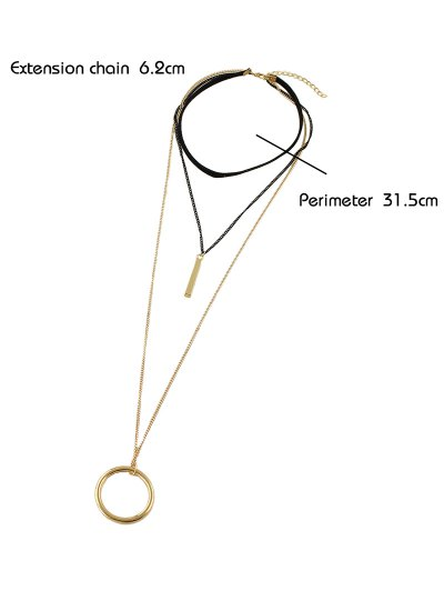 Circle Layered Necklace - GOLDEN  Mobile