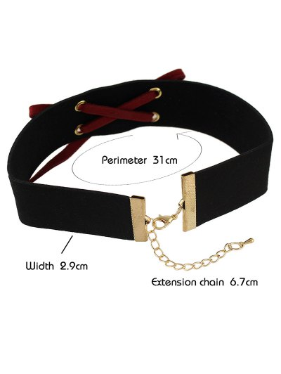 Lace Up Choker - RED  Mobile