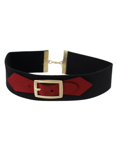 Pin Buckle Choker - RED  Mobile