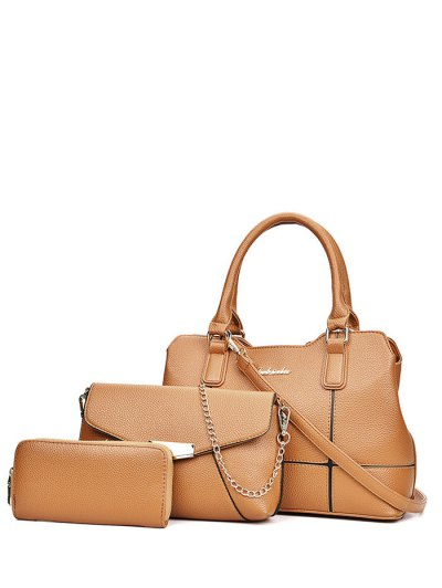 Dome Stud Zip Textured Leather Tote Bag - BROWN  Mobile