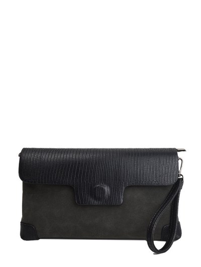 Magnetic Closure PU Leather Embossing Cluth Bag - DEEP GRAY  Mobile