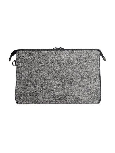 Twist-Lock Zipper Textured Leather Clutch Bag - LIGHT GRAY  Mobile