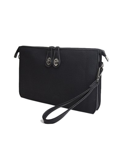Twist-Lock Zipper Textured Leather Clutch Bag - BLACK  Mobile
