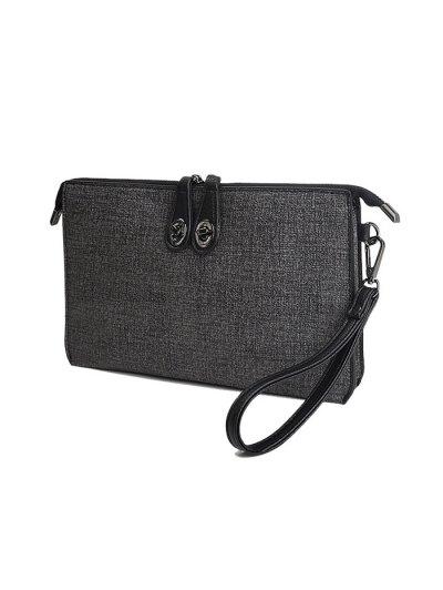 Twist-Lock Zipper Textured Leather Clutch Bag - DEEP GRAY  Mobile