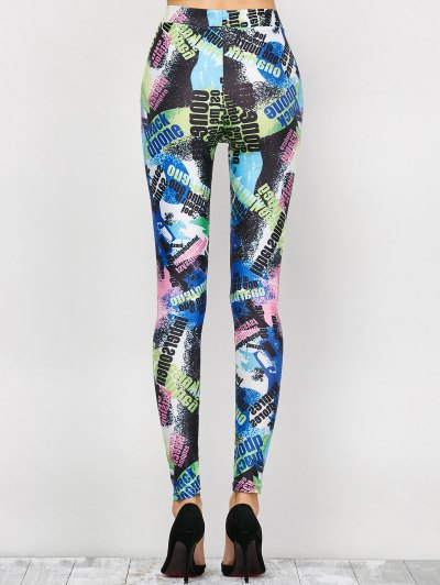 High Waist Tie-Dyed Figure Leggings - BLUE L Mobile