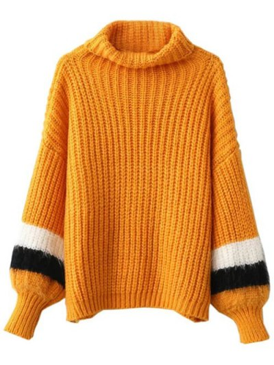 Striped Puff Sleeve Turtleneck Sweater - EARTHY ONE SIZE Mobile