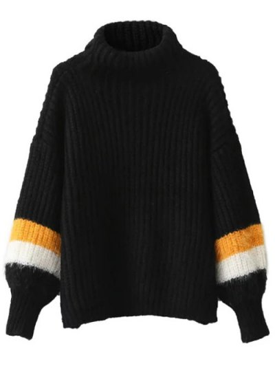 Striped Puff Sleeve Turtleneck Sweater - BLACK ONE SIZE Mobile