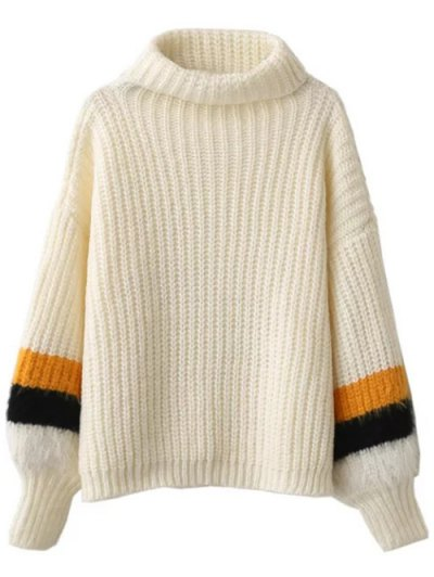 Striped Puff Sleeve Turtleneck Sweater - OFF-WHITE ONE SIZE Mobile