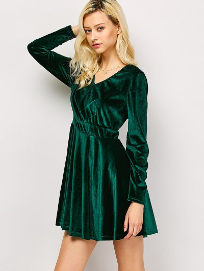 Long Sleeve Velvet Thick Mini Dress - GREEN M Mobile