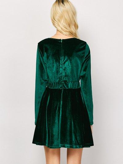 Long Sleeve Velvet Thick Mini Dress - GREEN S Mobile