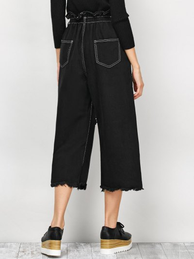 Capri Ripped Wide Leg Pants - BLACK M Mobile