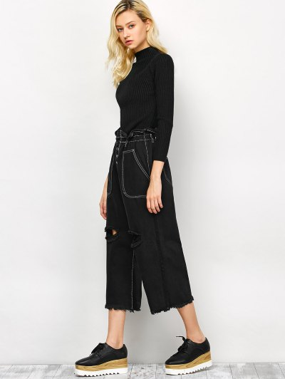 Capri Ripped Wide Leg Pants - BLACK S Mobile