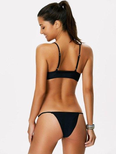 Color Block String Bikini - WHITE AND BLACK M Mobile