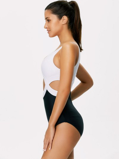 Color Block Cut Out Swimwear - WHITE AND BLACK L Mobile