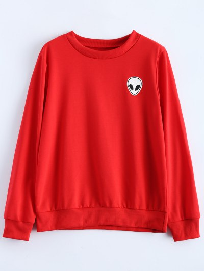 Fitting Skull Sweatshirt - RED XL Mobile