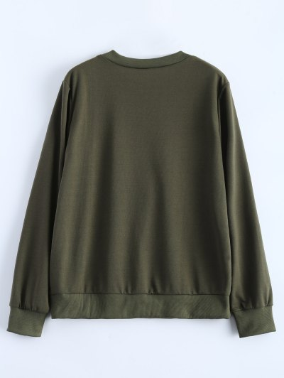 Fitting Skull Sweatshirt - ARMY GREEN S Mobile